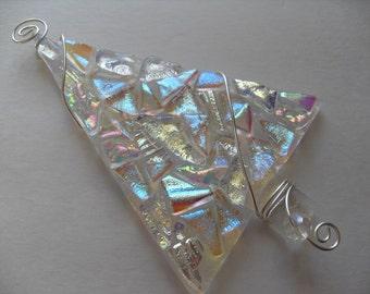 Fused glass/ dichroic / Glass tree / tree  ornament / sun catcher /  Christmas tree ornament