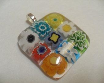 Millefiori Glass fused square pendant
