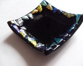 Fused glass black dichroic mini dish