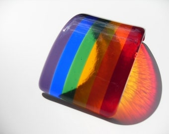 Fused glass rainbow ornament candle shield