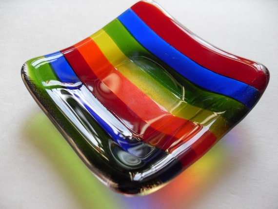 Rainbow fused glass mini dish