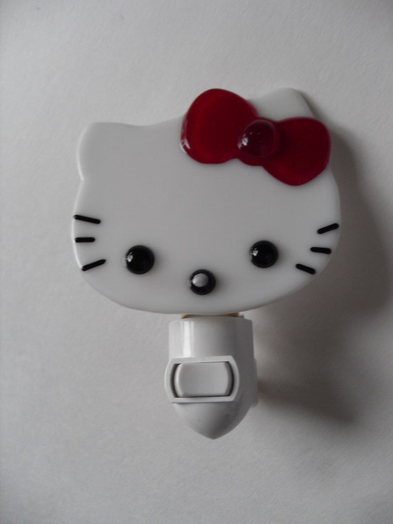 Hello KItty white/red  fused glass night light