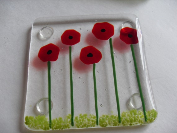 Poppy Fused glass coaster set