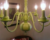 Vintage, 6-Light Chandelier - Celery Green