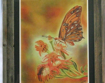 Majestic Monarch Butterfly Giclee Print - Matted and Framed