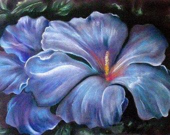 Blue Hibiscus, Hibiscus Original Pastel, Hibiscus Matted and Framed, Framed Blue Hibiscus, Framed Blue Hibiscus