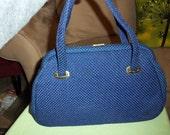 Vintage Handbag Blue Woven Madmen style