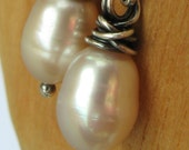 Pearl and Sterling Silver Earrings - Pale Pink Dew Drops