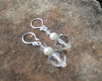Sale: Quartz and Pearl, bridal earrings