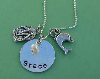 The Beach Girl, sterling silver personalized necklace with flip flop charm and dolphin charm