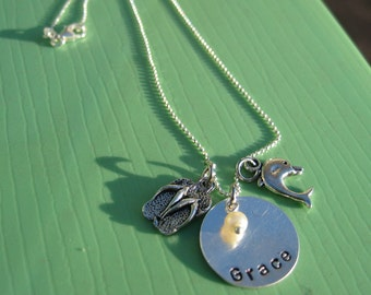 The Beach Girl, personalized necklace for your bridesmaids