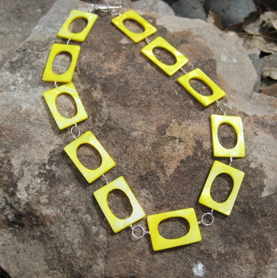 Sunshine, necklace with bright neon yellow rectangle shell beads