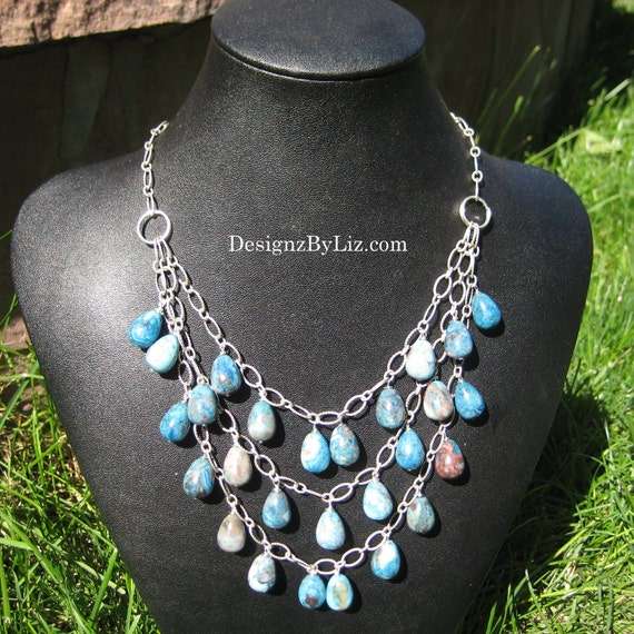 Blue Lagoon, bib necklace for your bridesmaids, triple strand of crazy lace agate teardrop stones