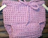 Rose Pink Wool Soaker Diaper Cover SMALL