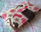Crayon Wallet  - Pink Western Cowgirl fabric