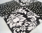 Reversible Fabric Coasters - Michael Miller Dandy Damask Black