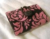 Travel Tea Wallet - Michael Miller Pink Brown Dandy Damask design