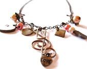 Romantic Antique Brass Charm Necklace