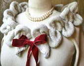 Petals Cowl Scarf Circle Infinity Hand Knit with Velvet Ribbon Bow Versatile Knitted Eternity Scarf Women Teens Girls Fashion Gifts
