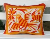 Private listing for Gina Yellow and Orange Summer Silk and Linen Otomi Pillow Sham-Ready to ship