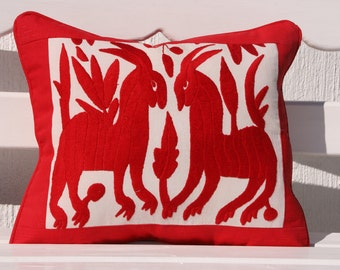 Was 98 now on clearance Small Piped Folk Art Pillow Sham-Otomi Embroidery  REady to ship