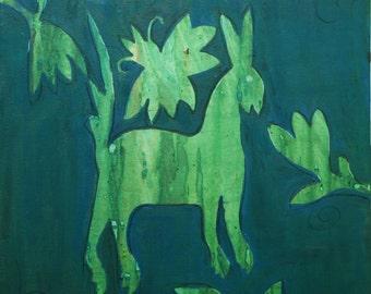 Otomi Patina Copper  Folk Art Original Oil Painting