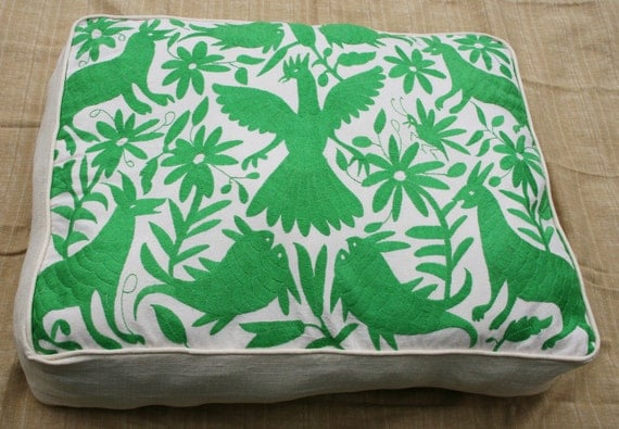 Summer Lime green Otomi Pouf  Gorgeous and ready to Ship