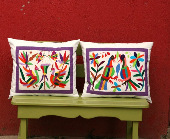 Otomi Folk Pieces- 1 Pair LARGE Violet purple Shams Ready to ship