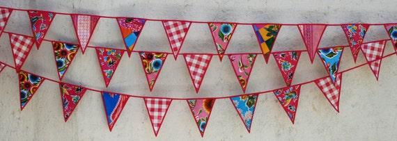 Oilcloth Pink Fuschia Sky blue  and Red Party Pennants Check out our gorgeous trim work  Ready to Ship