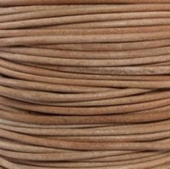2mm natural round soft leather cord undyed - 10 meters
