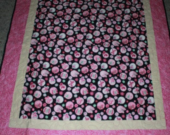 Kid's Pink and Black Butterflies and Flowers Lap/Carry Around Quilt
