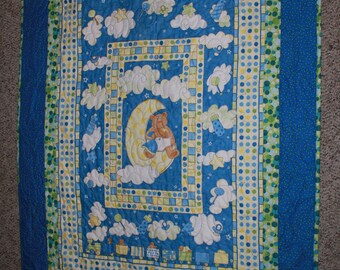 Moon Bears in Blue and Green for boys/girls Crib/Lap/Wall