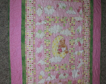 Moon Bears in Pink and Green for girls crib/lap/wall