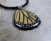 Hand-Painted Handmade Polymer Clay Pendant Butterfly Wing OOAK