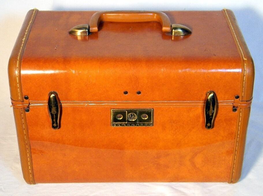 vintage samsonite makeup train case brown. Black Bedroom Furniture Sets. Home Design Ideas