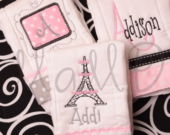 Monogrammed Personalized Embroidered Baby Burp Cloth Collection Posh Paris