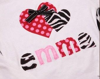 Personalized Zebra Print Lovie Dovie Valentine Applique Girly Tee Shirt