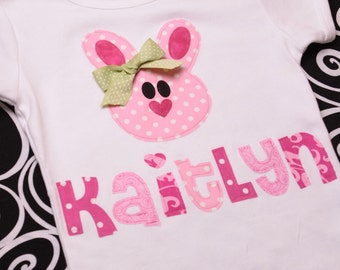 Boutique Personalized Belle the Bunny Easter Applique Tee Shirt or Onesie