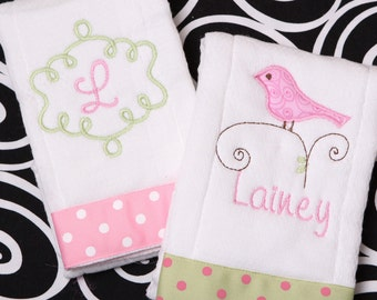 Boutique Personalized Baby Girl Burp Cloth Little Birdie Collection of 2