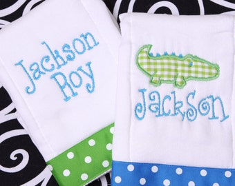 Embroidered Monogrammed Personalized Set Baby Burp Cloths - Baby Alligator