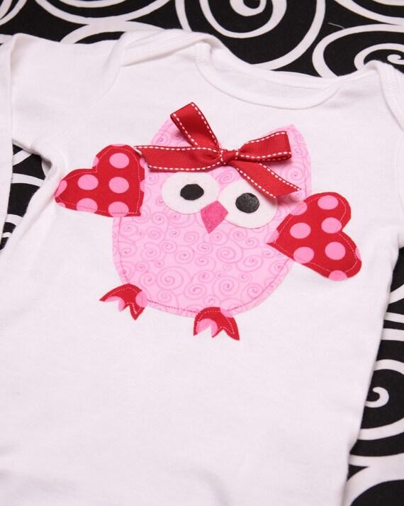 Boutique Sweet Owl Valentine Applique Tee Shirt or Onesie