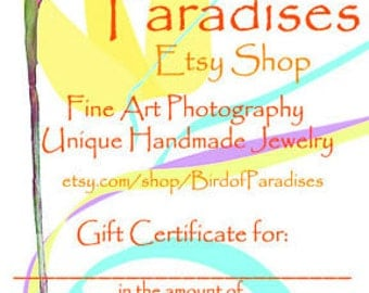 GIFT CARD for Bird of Paradises Shop