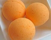 One 4 Ounce Orange Vanilla Bath Bomb Fizzy