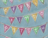 Baby Nursery Decor Art for Children Alphabet Bunting  - Made to Order, Original Painting 8 x 10
