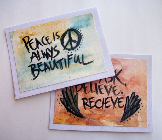 Hemp Watercolor Affirmation Art Note Cards, Set of 2 - Hand painted - Blank for any occassion