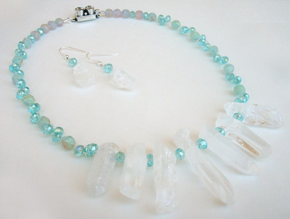 Ice Frost // Raw Quartz Crystal Aqua Crystal Silver Necklace. Sparkle, Bold, Statment.