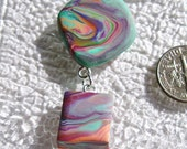 Painted Desert -  Abstract Geometric Sculpture on Silver Neckwire Collar - OOAK