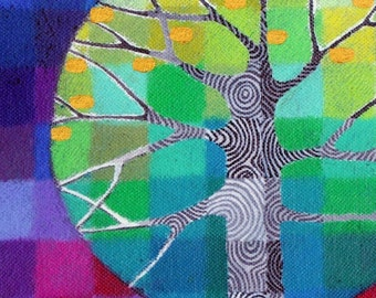 Tiny Test Pattern Tree 5 print, with handpainted details