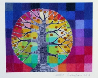 Tiny Test Pattern Tree 6 print, with handpainted details