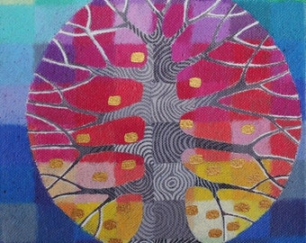 Tiny Test Pattern Tree 7 print, with handpainted details